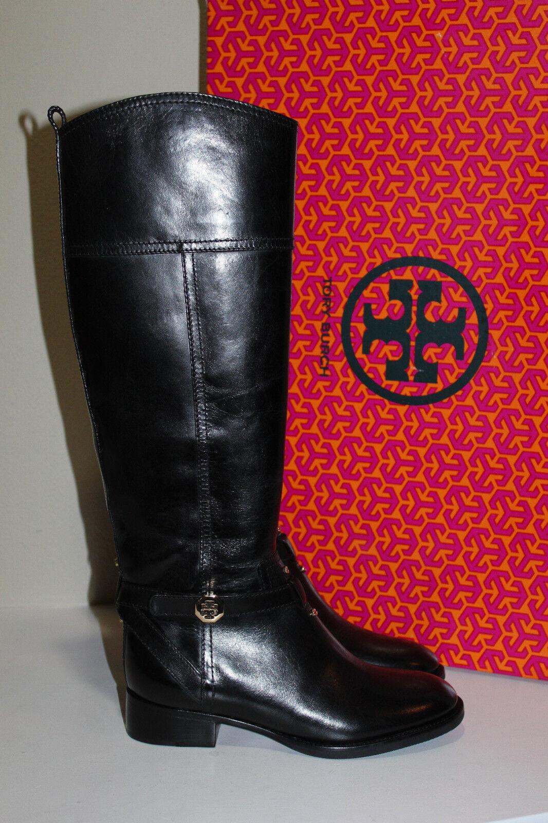 New sz 5 Tory Burch Brita Black Leather Gold Logo Riding Knee High Boot Shoes
