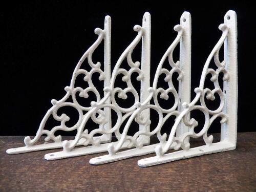 Set of 4 Cast Iron Shelf Brackets New Antique-Style White 5 1/4 x 7