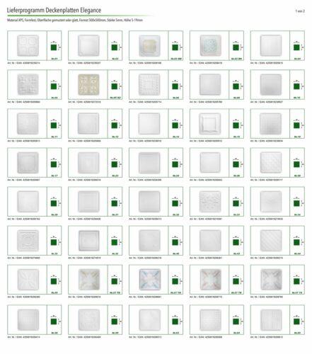 10 m²  Sparpaket Deckenplatten Polystyrolplatten Decke Dekor 50x50cm Nr.102