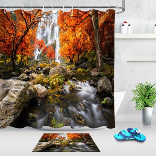 Autumn Waterfall Landscape Shower Curtain Set Bathroom Waterproof Fabric Hooks