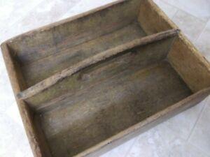 Antique-Primitive-Handmade-Wood-Tool-Tote-Carrier-Original-Midwest-Estate