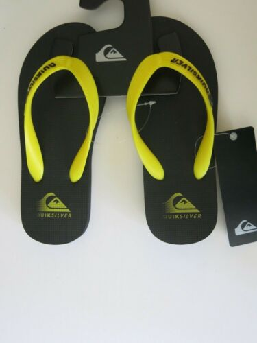 Quiksilver Boys Youth Black Yellow Java Action Logo Flip Flops Sandals Summer