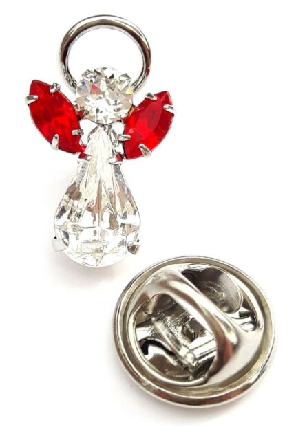 Elements Birthstone Guardian Angel Pin July Ruby With Swarovski Crystal