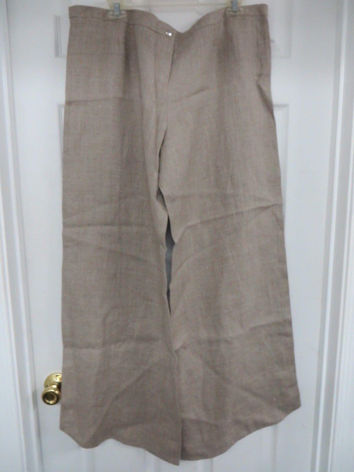SAVA Dress Linen  Pants Wide leg  Large Taupe Ret.  164 USA made NWT