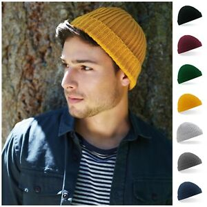 Fisherman Beanie Ribbed Hat Winter Warm Turn Up Retro Mens Womens