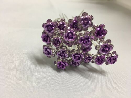 20 X Rose Flower Crystal Wedding Party Bridal Prom Star Hair Pin Clips