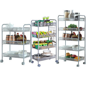 Details About 3 4 5 Tier Rack Shelf Shelving W Rolling Kitchen Pantry Storage Utility Cart