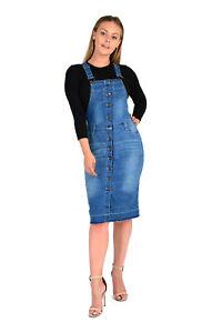 e043947d1bb NEW Womens Sexy Dungaree Pinafore Denim Wash Ladies Dress UK SIZE 8 ...