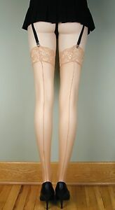 SHEER-LACE-TOP-Thigh-High-BACK-SEAM-Stockings-NUDE-O-S