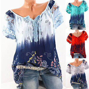 Womens-Summer-Floral-V-Neck-Blouse-Loose-Baggy-Tops-Tunic-Tee-T-Shirts-Plus-Size