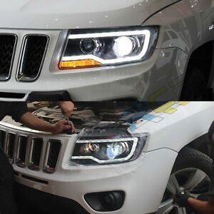 Image Is Loading Hid Headlights For Jeep Comp 2007 2017 Front