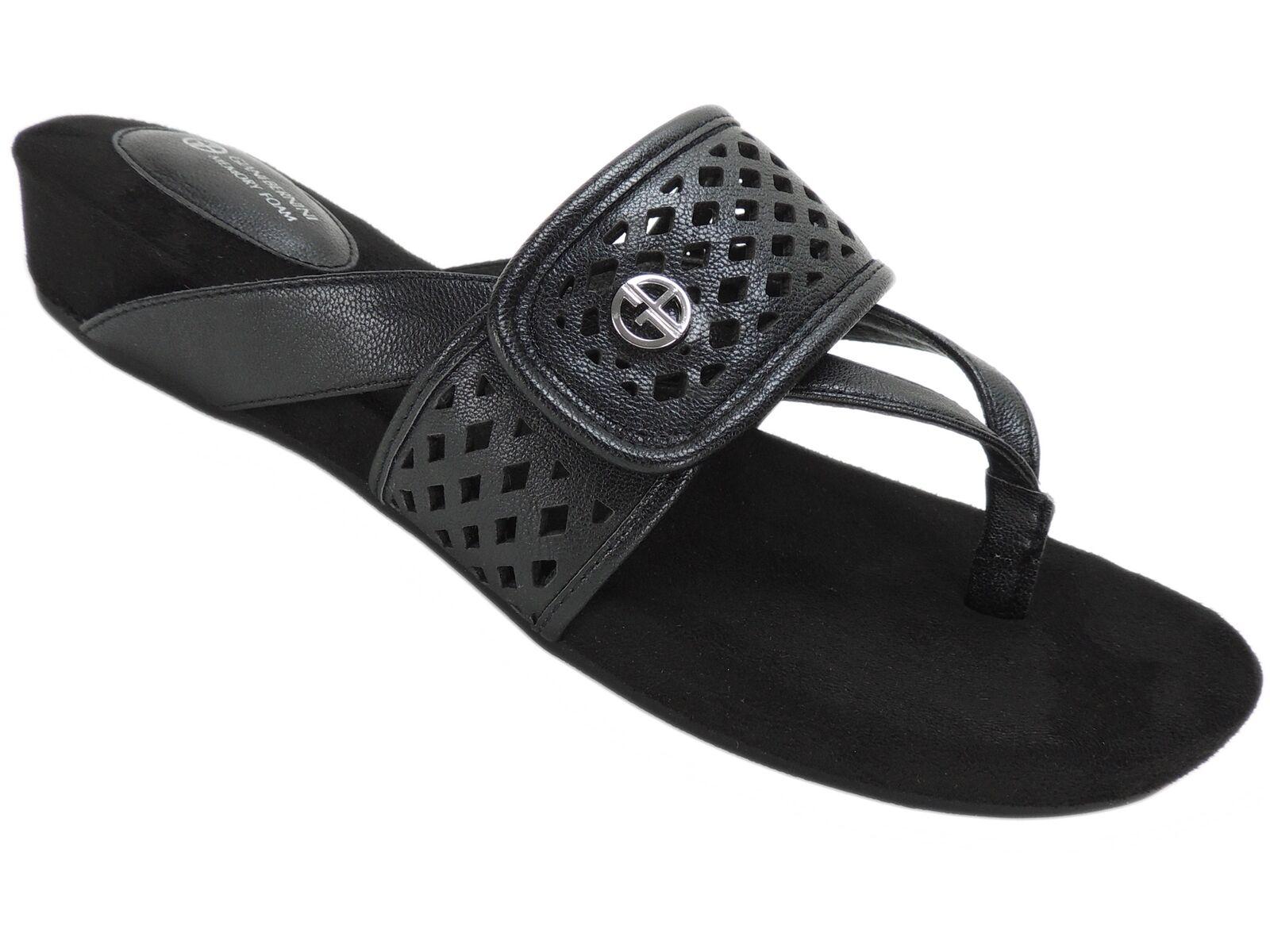 Giani Bernini Women's Releigh Casual Thong Slide Sandals Black Size 9.5 M