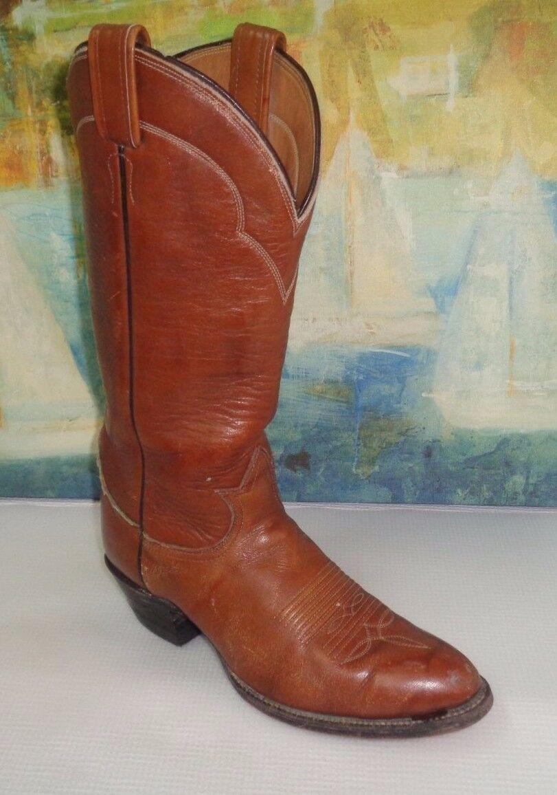 Tony Lama Cowboy Boots 5084 Brown Label Western Ranch VTG Brown Uomo 7 B