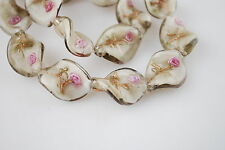Pretty 10ps Lt Grey Flower Glass Twist Helix Lampwork Beads Spacer 20mm Charms