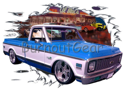 1972 Blue Chevy Pickup Truck c Custom Hot Rod Diner T-Shirt 72 Muscle Car Tees
