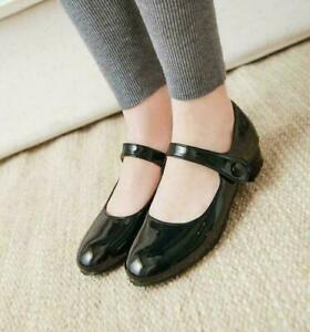 Womens-Round-Toe-Block-Heels-Ankle-Strap-Buckle-Mary-Jane-Casual-Shoes-plus-size