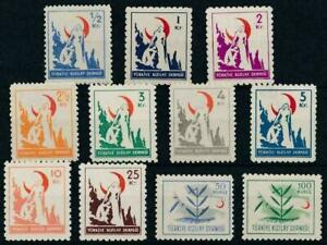 TURKEY-1948-49-Beneficence-Complete-Set-Red-Crescent-Red-Cross-MH