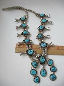 Vintage Silver turquoise squash blossom necklace SIGNED