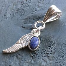 Silver Lapis Lazuli Charm & Tibetan Wing Pendant Chakra Wicca Angel Guardian
