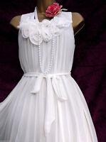 Vintage 1920's inspired Flapper White Chiffon Flower Dress US 8 EUR 40 Gatsby