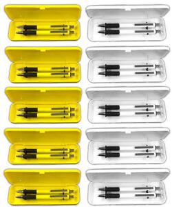 10x-3-tlg-Kugelschreiber-Druckbleistift-Schreibset-in-Klappetui-gelb-und-weiss