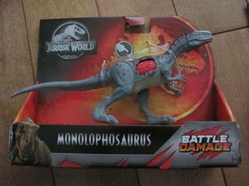 Jurassic World monolophosaurus Battle Damage Mattel GCX73 NEUF RARE difficile à trouver