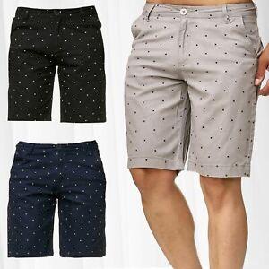 Pantalon-homme-court-a-motifs-pour-l-039-ete-style-chino-motif-de-croix-et-panneau