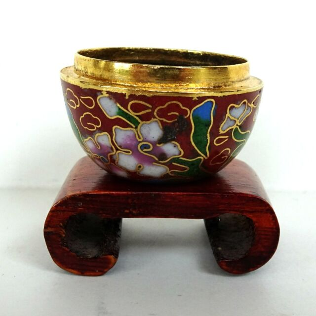Miniature Dollhouse Cloisenne Enamel Flower Pot Vintage Doll House Wooden Stand