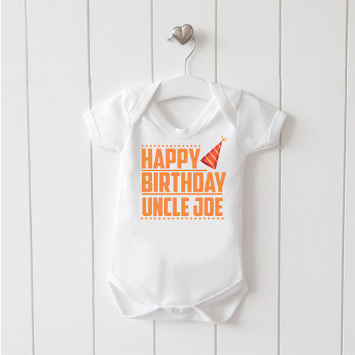Happy Birthday Uncle Personalised Vest Baby Grow 100/% Cotton Bodysuit Mothercare