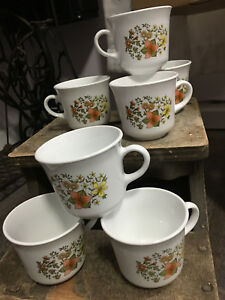 Set of 7 Corelle Corning \'Indian Summer\' Orange Lilly Coffee-Tea ...