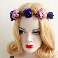 Women Flower Crown Festival Headband Wedding Boho Floral Garland Hair Band