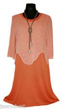 Jassysbest L 44 46 2tlg Lagenlook Kleid Overshirt Basic Tunika Orange Lachs NEU