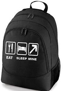 EAT-SLEEP-MINE-GAMING-SCHOOL-COLLEGE-SPORTS-BAG-BACKPACK-FREE-UK-POSTAGE
