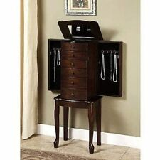 Mirrored Jewelry Armoire Box Organizer Tall Stand Up Cabinet Walnut Wood Storage