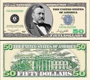 50 Play Money Fifty Dollar Bill