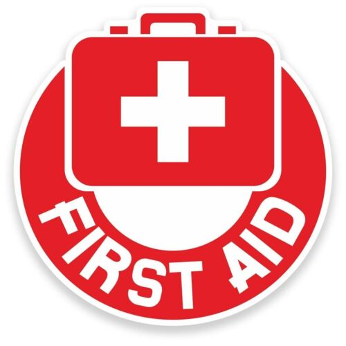 2 x First Aid Vinyl Sticker Travel Car Luggage #9203