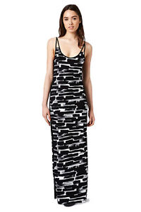 TOPSHOP-Brushstroke-Print-Jersey-Monochrome-Maxi-Dress-UK-10-14-Black-White