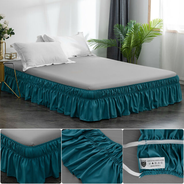 Queen Burdy Ruffled Bed Skirt With, Wrap Around Bed Skirt Queen Size