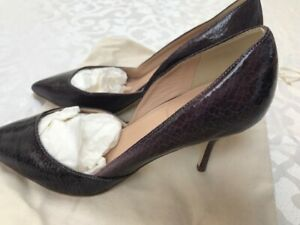 J.Crew patent embossed purple leather stiletto heel pumps shoes 8US $350 Italy