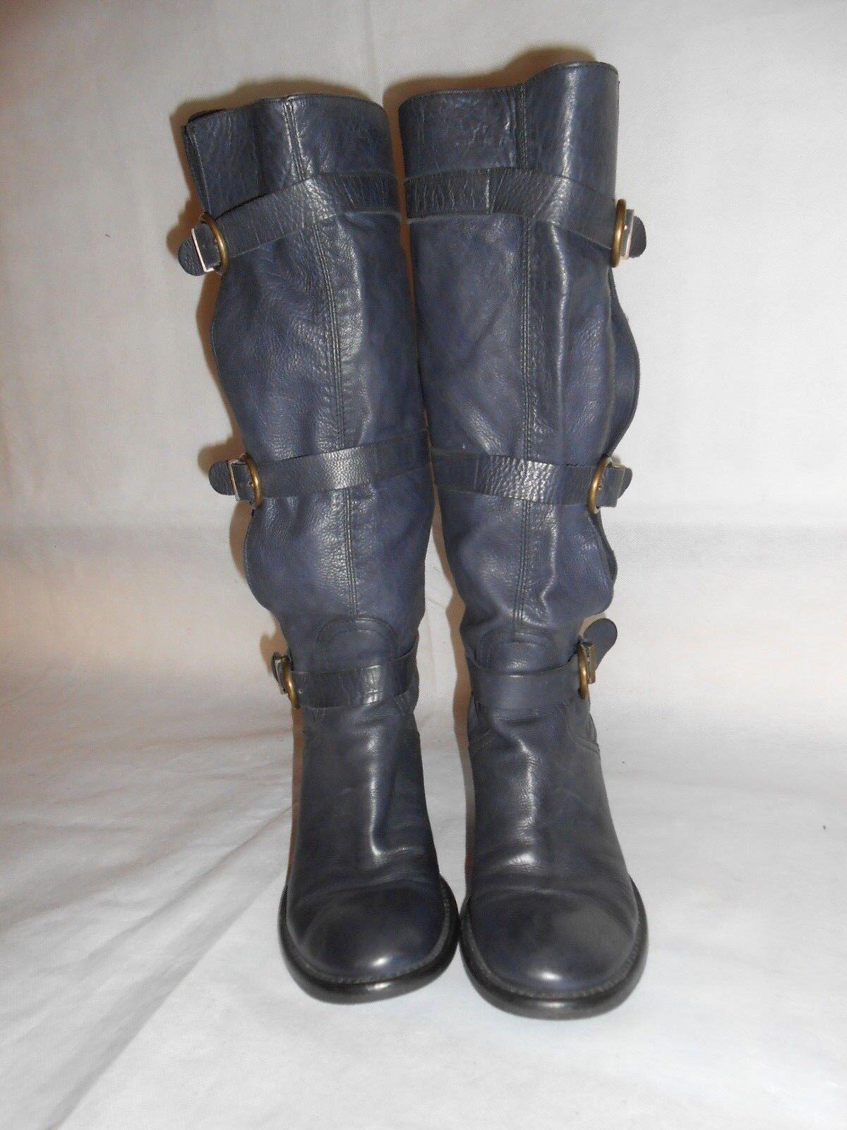 Mujeres Botas Altas Rodilla Azul Marino Marino Azul cinturones de cuero real de tacón bajo fabricación d'essai S 3.5 e3de74