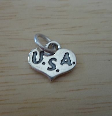 Sterling Silver 12x10mm Patriotic United States of America USA heart shape Charm