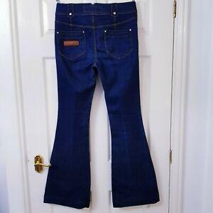 Karen Millen Womens Flared Jeans Pants Dark Wash Blue Denim Zip Size UK 12 US 8
