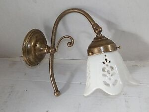 Applique da parete in ottone anticato bagno ingresso con ceramica