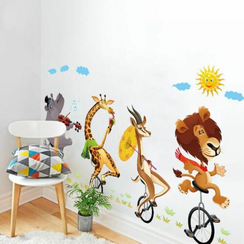 Removable Wall Sticker Cute Animals on Bicycles For Kids Baby Nursery Room Decal