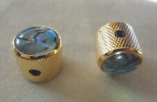 METAL DOME KNOBS CONTROL VOLUME TONE MIGHTY MITE GOLD w/ ABALONE TOP for GUITAR