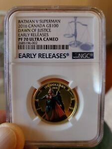 2016-Canada-100-BATMAN-VS-SUPERMAN-NGC-PF70-ER-Dawn-Of-Justice-1-4-oz-Gold