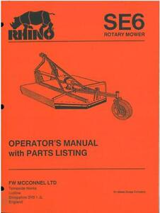 Details about RHINO SE6 ROTARY MOWER OPERATORS MANUAL & PARTS LIST
