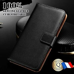 Etui-Cuir-Veritable-housse-coque-Genuine-Leather-Wallet-case-Sony-Xperia-XA1