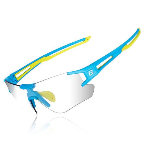 ROCKBROS Bike Photochromic Rimless Cycling Sunglasses UV400 Goggles Blue Green