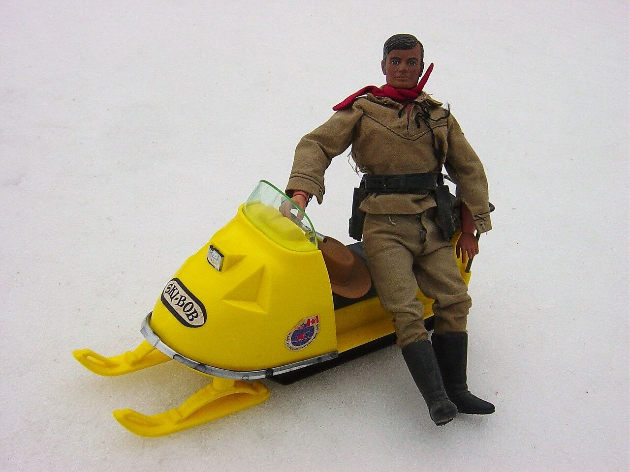 Ski Bob Vintage toy Snowmobile with western figures Processed Plastic Co & Tel.